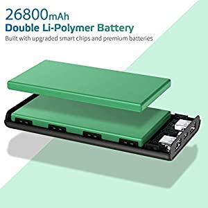Portable Charger 26800mAh Power Bank, Commercial Texture Design with Dual External Backup Batteries Cell Phone Charger 2 USB Ports Battery Pack for iPhone 11/Pro/Max/X/Xs, Samsung, Andriod and More