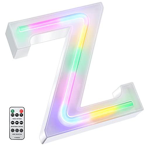 Luces LED de Letras Coloridas, Señal de Neón de 26 Alfabeto Luces de Número de Marquesina con Control Remoto Lámparas de Brillo Alimentadas por 2 Pilas AAA para Pared de Hogar (Letra Z)