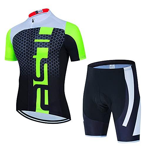HXTSWGS Traje Equipacion Ciclismo Hombre,Conjunto de Jersey de Ciclismo de Verano Jersey de Bicicleta Deportiva de Carreras Transpirable Jersey de Bicicleta Corta para hombre-A05_3XL