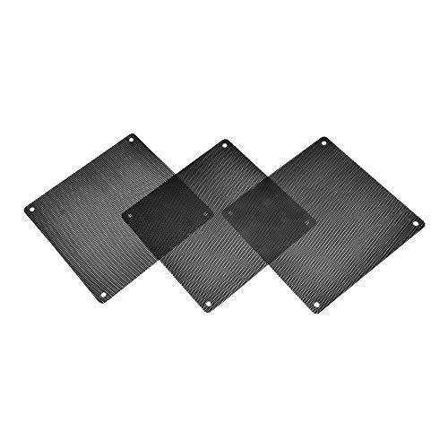 Filtro de polvo de malla resistente al polvo, 3 piezas de PVC para ventilador de ordenador, color negro