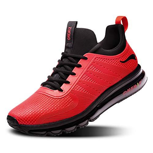 ONEMIX Scarpe da Running Uomo, Scarpe da Ginnastica Corsa Sportive Fitness Sneakers Multisport Interior Casual all'Aperto 1191 Nero Rosso 47