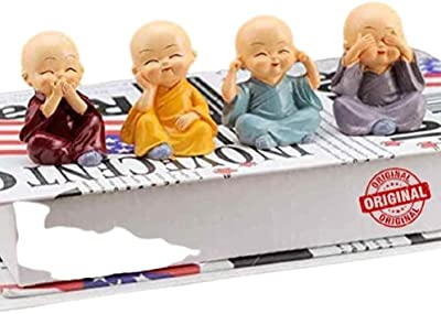 Set of 4 Cute Baby Hat Monk Buddha Idols Showpiece for Car Dashboard /Home Décor Decoration & Gifting Purpose
