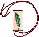 HALPP Funda para iPhone SE/7/8 Cuerda Case, Carcasa Transparente TPU Silicona Case con Colgante Ajustable Collar Correa de Cuello Cordón - Rojo