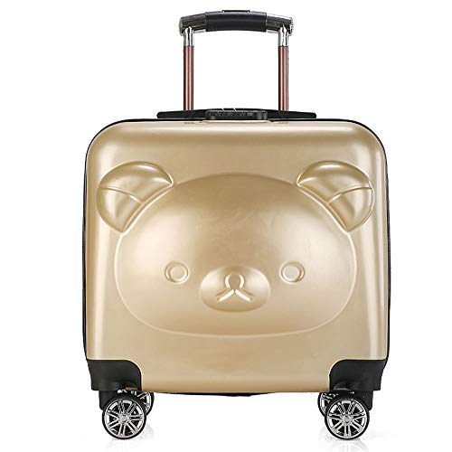 NLZQ Kids Luggage,Hardside 18 Inches Carry Luggage Set Rolling Luggage with Spinner Wheels Safer Side Kids Trolley with Three-Digit Code Lock Best Gifts for Children,Gold