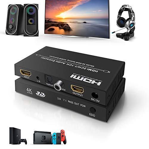 HDMI Audio Konverter Ippinkan 2x1 HDMI Switch Audio Extrator Support 4k 60Hz mit Fernbedienung 4K ARC 3,5 mm Stereo HDR EDID Audio Extractor Switch für HDTV PS4 Xbox Projektor