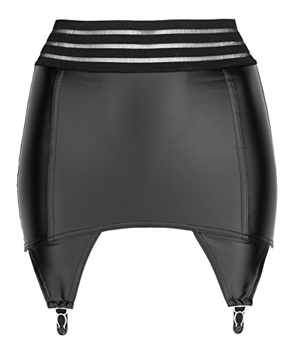 Noir Handmade Wetlook Strapsgürtel, schwarz, 4 Metallclips - Retro-Look Strumpfhalter Strapshalter Hüfthalter Dessous Größe L