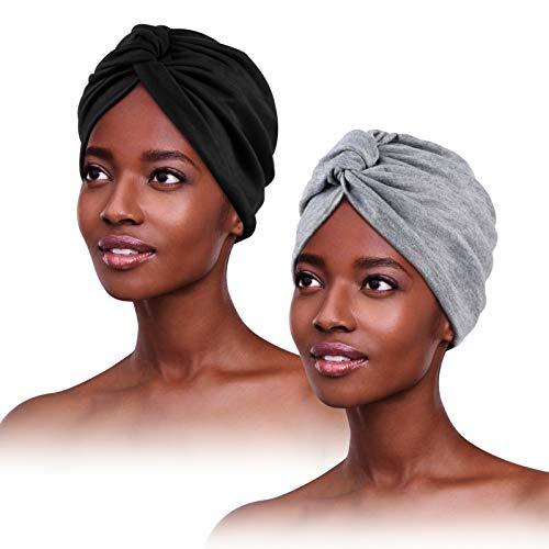 2 Piezas Turbantes para Mujer,Pañuelos Quimioterapia,Gorros Oncologicos para Mujer,Pañuelo Cabeza Mujer, Mujer Pelo Largo Verano Turbantes Lástico Frontal Cruzado Algodón