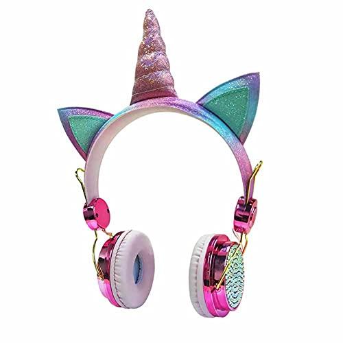 LXW Auriculares con Cable de Unicornio, Ajustables en Auriculares para Orejas, Auriculares de Juego Ajustables de 3,5 mm, para Mujeres, niñas, niños, niños, niños