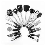 YANDER Kitchen Utensils Set 16Pcs Silicone Non-stick Cooking Utensils Stainless Steel Kitchen Tool Metal Hooks Kitchenware Set Gadgets