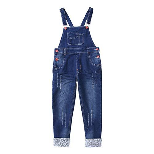 FAIRYRAIN Mädchen Kinder Denim Overall Jeanshose Mit Latz Denim Latzhosee Jeans Hosen Overall Lange Overall Jumpsuit 3-4 Jahre