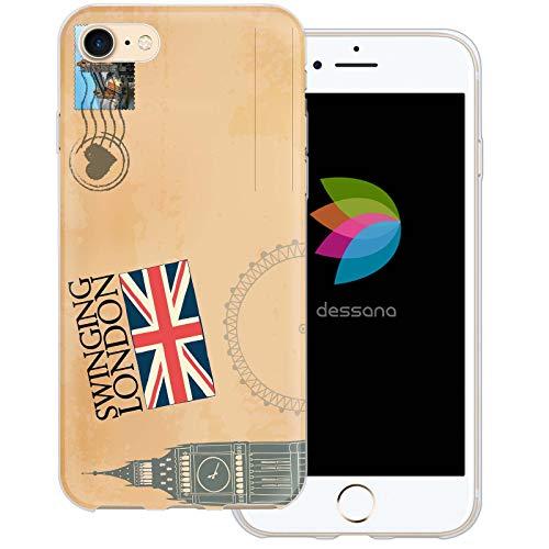 dessana postzegels transparante beschermhoes mobiele telefoon case cover tas voor Apple, Apple iPhone 8, Ansichtkaart Londen