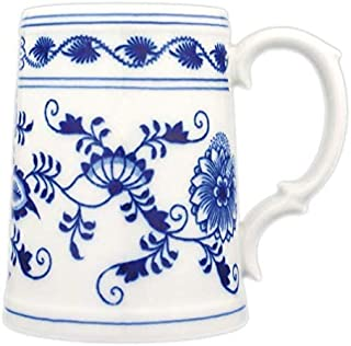 Blue Onion Traditional Porcelain Beer Jug 0.5liter | Unique drinkware Handmade Quality Home Decor from Europe | Blue and White