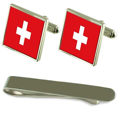 Select Gifts Flagge Schweiz Silber Manschettenknöpfe Krawatten Clip Box Set