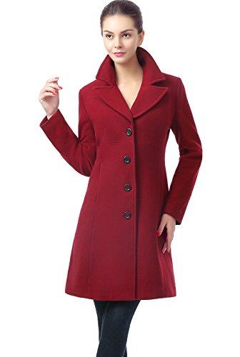 BGSD Women's Joan Wool Blend Walking Coat, Wine, Large