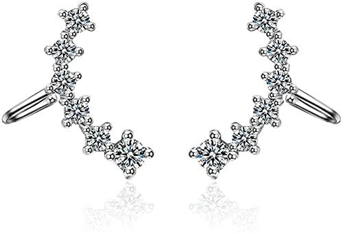 OUHUI Cubic Zircon Clip-On Climbing Earrings, Suitable for Girls Without Piercing Rose Sier Accessories Dangly Earrings for Women Decorations/Silver
