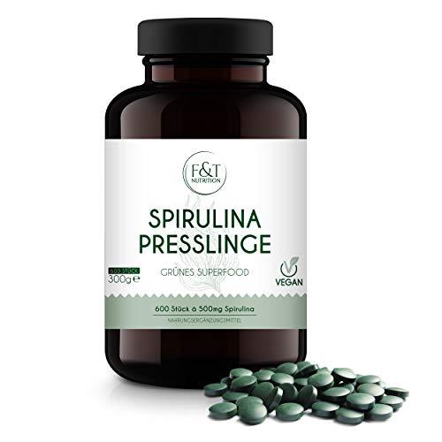 F&T Nutrition Spirulina Presslinge – 600 Tabletten à 500mg – 2.000mg [ 2x2 Stk. Tagesration] – Hochdosiert – 100% reines Spirulina – Vegan – Ohne Zusätze – Laborgeprüft