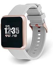 X-WATCH 54046 KETO SUN REFLECT Smart Watch, Fitness Tracker, Pulsmätare, IP68 vattentät, batteri upp till 20 dagar, Android & iOS – mjuk grå