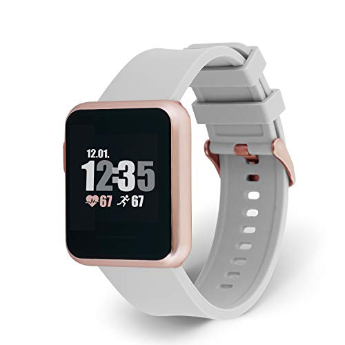 X-WATCH 54046 KETO SUN REFLECT Smart Watch, Fitness Tracker, Pulsmesser, IP68 wasserdicht, Akku bis 20 Tage, Android & iOS - SOFT GREY