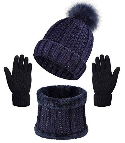 CheChury Damen Winter Gestrickter Mütze Schal Handschuhe Sets, Warm Winterschal Schlupfmütze Beanie Cap Mütze Slouchy Schlauchschal