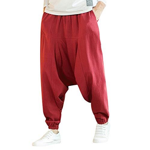 Yowablo Haremshose Herren Baumwolle Freizeitmode Lose Reine Farbe Hip Hop Stil Baumwolle und Leinen Länge Hose (XXL,rot)