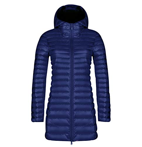 Lightweight Long Down Jacket Women with Hood Womens Packable Down Coats Women's Ultra Light Down Jacket Downs Filled Coat Stand Collar Quilted Padded Hooded Puffer Jacket Ladies Puffa Jacket Navy L