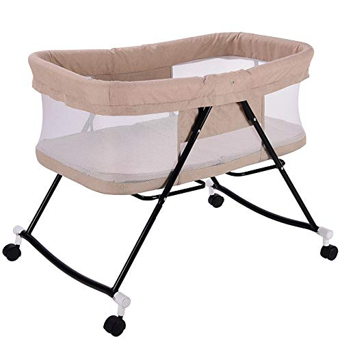 ZRWZZ babybedje, bed slapen wieg uit reizen wieg verwijderbare draagbare wieg met wiel opvouwbare wieg Slip hek baby reizen bed met muggennet meerdere kleuren in hoogte verstelbaar