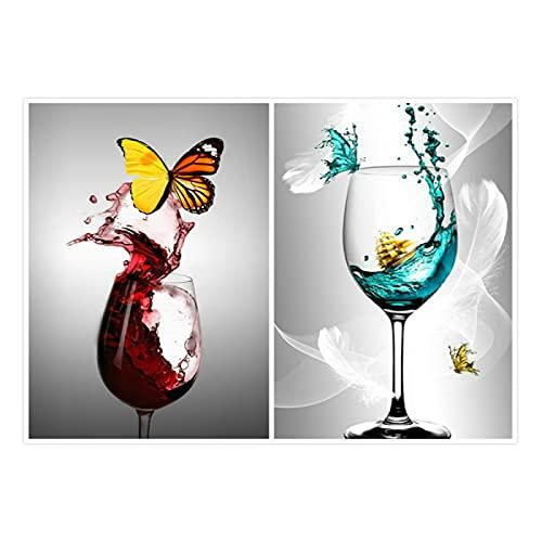 Carteles inspiradores juego de 2 arte de pared estilo nórdico lienzo pintura mariposa en copa de vino tinto impresiones imágenes decoración del hogar sin marco