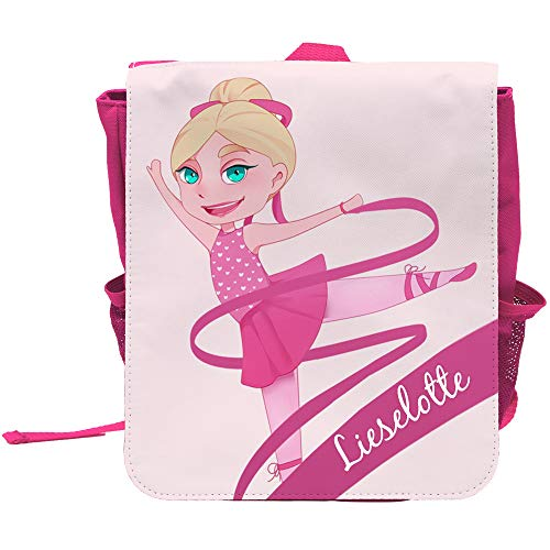 Kinder-Rucksack mit Namen Lieselotte und Motiv mit Tänzerin für Mädchen