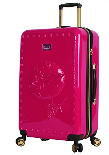 Betsey Johnson 26 Inch Checked Luggage Collection - Expandable Scratch Resistant (ABS + PC) Hardside Suitcase - Designer Lightweight Bag with 8-Rolling Spinner Wheels (26in, Lip Red)