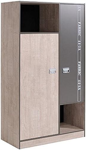 Kleiderschrank grau 2 Türen B 101 cm Kinderzimmer Jugendzimmer Schrank Holzschrank Drehtürenschrank W heschrank