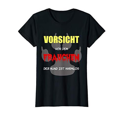 Damen Vorsicht vor dem Frauchen Hundeliebe Hundefan Geschenk T-Shirt