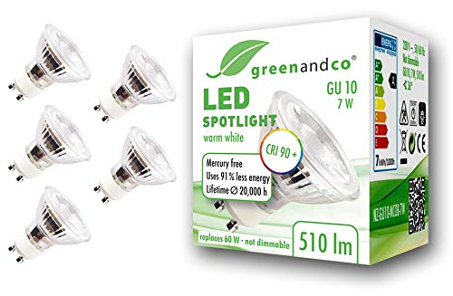 5x Spot LED greenandco® IRC90+ 3000K 36° GU10 7W (corresponde a 60W) 510lm SMD LED 230V AC, sin parpadeo, no regulable