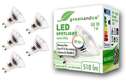 5x greenandco® CRI90+ 3000K 36° LED Spot ersetzt 60 Watt GU10 Halogenstrahler, 7W 510 Lumen warmweiß SMD LED Strahler 230V AC Glas mit Schutzglas, nicht dimmbar, flimmerfrei, 2 Jahre Garantie