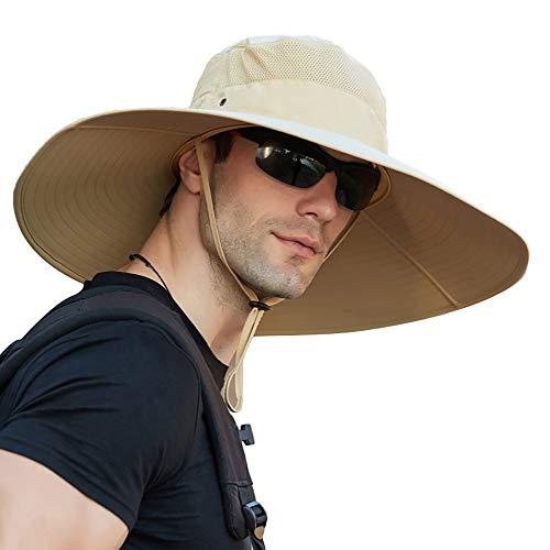 Sombrero de pesca de ala súper ancha UPF 50+ para pesca, senderismo, camping, viajes, Caqui, Medium