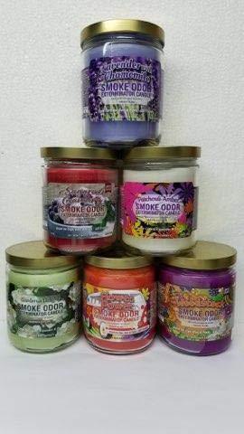 Smoke Odor Exterminator 13 oz Jar Candles Lavender Assortment (6) Includes Lavender, Gardenia Delight, Sugared Cranberry, Flower Power, Patchouli Amber & Woodstock.