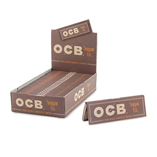 OCB Rolling Papers - Virgin Series - Unbleached Minimally Processed Super Thin - 24 Count Bulk Display Pack - (1 1/4)