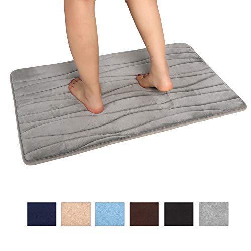 Uphome Memory Foam Bath Mat Non-Slip Thick Gray Bathroom Rugs 20x31 inch Absorbent Quick Dry Flannel Bath Rug Luxury Soft Velvet Floor Rug Machine Washable for Shower Bathtub