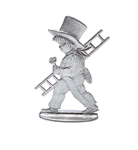 Zinngeschenke Schornsteinfeger beidseitig von Hand patiniert aus Zinn als stehende Figur (HxB) 6,5 x 4,5 cm Glücksbringer Kleeblatt Talismann Schornsteinfeger deko