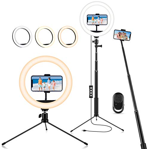 """Ring Light with Stand & Phone Holder,10"""" Selfie Ring Light with Tripod Stand Bluetooth Remote, 3-in-1 Led Dimmable Desk Selfie Ringlight for Live Streaming,Selfie,Online Meeting,Video Shooting"""