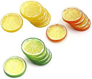 Lorigun 30pcs Fake Lemon Slice Garnish Artificial Fruit Faux Food House Bar Decoration Cocktail Party Arrangement(Red Green Yellow,Each Color 10Pcs)