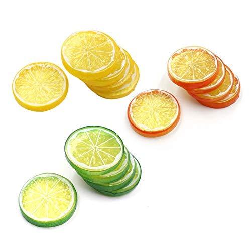 Lorigun 30 stücke Gefälschte Zitronenscheibe Garnieren Künstliche Frucht Faux Food Haus Dekoration (Rot Grün Gelb, Jede Farbe 10 Stücke)