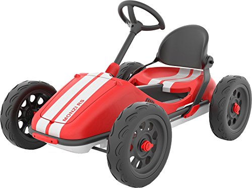 Chillafish Monzi RS: Pedal Go-Kart for Kids 3-7 Years, Folds Down for Easy Storage and Adjustable Seat Without Tools, Airless no-Puncture RubberSkin Tires, and Wall Mount for Easy Storage, Red