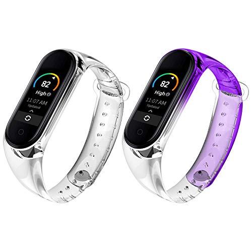Qianyou 2 Piezas Correas para Xiaomi Mi Band 5 Silicona, Pulsera con Funda Impermeable TPU Reemplazo Colorida Reloj Banda para Xiaomi Mi Band 5,Claro+Morada