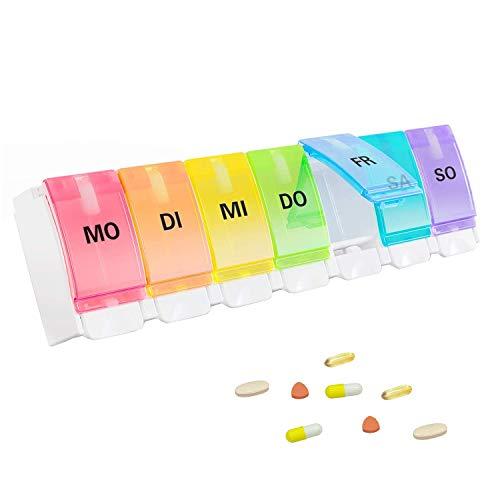GeekerChip Tablettenbox 7 tage,medikamentenbox,pillendose 7 tage,Leicht Zu Öffnen(Deutsche Version)