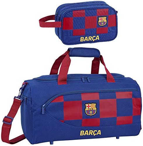 rainbowFUN.de FC Barcelona XL Sporttasche und Kulturbeutel Trainingstasche Kulturtasche Fußball-Tasche