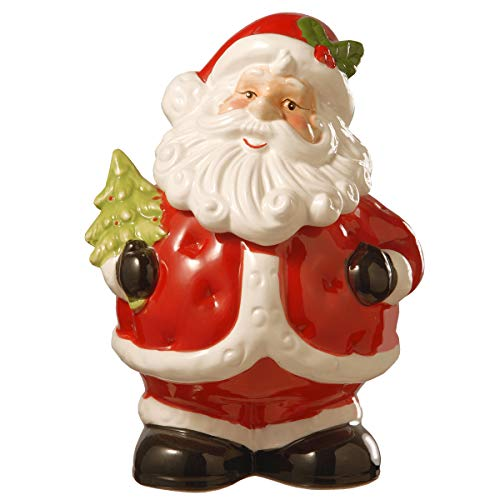 National Tree Clause 10' Santa Claus Cookie Jar, Red