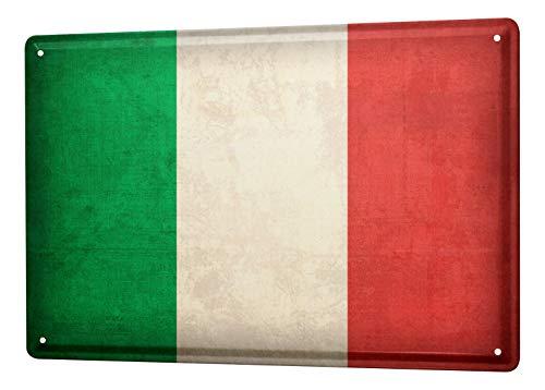 LEotiE SINCE 2004 Blechschild Dekoschild Küche Garage Welt Reise Italien Flagge Wand Deko Schild 20X30 cm