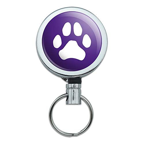 Paw Print Dog Cat White on Black Heavy Duty Metal Retractable Reel ID Badge Key Card Tag Holder with Belt Clip
