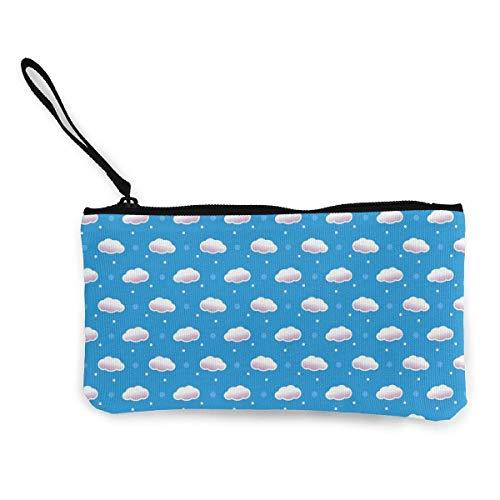 Unisex Geldbörse, Münztüten, Cartoon-Wolkenmuster, Canvas, tragbare Geldbörse mit Reißverschluss für Lippenstift, Münzen, Kreditkarte, Headset, USB-Ladegerät, Schlüssel