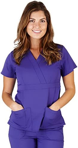 Ultra Soft Brand Scrubs Premium Womens Junior Fit 3 Pocket Mock Wrap Scrub Top Purple 36148 product image